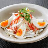 新玉ねぎと半熟卵のサラダ  タイドレッシング