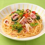 ハサミで作るヤリイカと菜の花のスパゲッティ