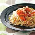 帆立貝とトマトのソースの冷製パスタ