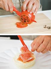 作り方4画像 Point トマトは薄切りにすることでふわ りと盛りつけることができます。