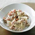 モッツァレラチーズ入りラビオリ風餃子 トマトケッパーソース添え