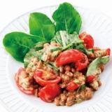 ルッコラとプチトマトの納豆マヨネーズ和え
