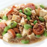 納豆と豆腐のクリームソース炒め