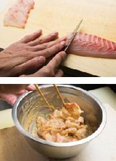 鯛は一口大のそぎ切りにし、2と合わせて和える。