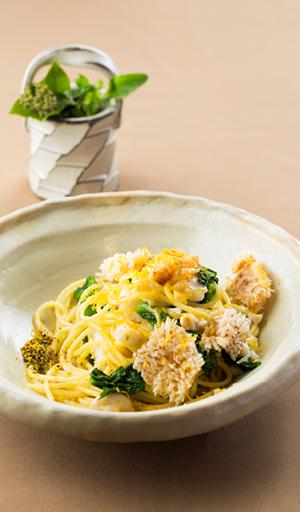 パリパリの甘鯛と菜の花のスパゲッティ