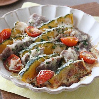塩豚とカボチャのチーズ焼き