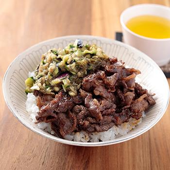 山形のだし焼肉丼(ネバネバ野菜の焼肉丼)
